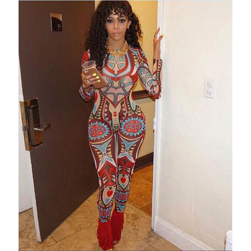 2016 Women summer Sexy Totem Printing Tight Jumpsuit Womens Romper Casual Long Sleeve Bodycon Bodysuit Plus Size Club Rompers(China (Mainland))