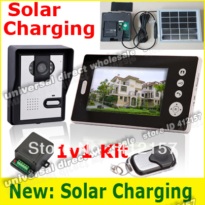 "Home Solar power Charger Charging wireless 7inch Picture taking photo memory 7"" video door Phone Remote Control Intercom System"