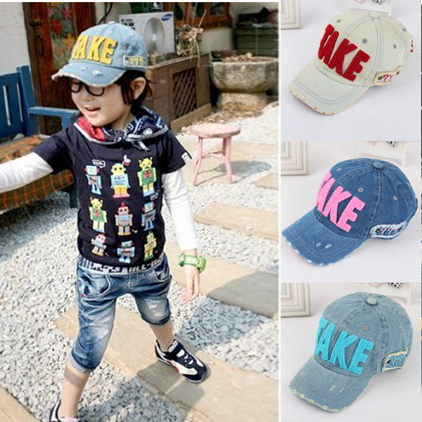 Baby Kids Girls Boys Letter Print Baseball Hat Flat Visor Snapback Cowboy Cap Free Shipping(China (Mainland))