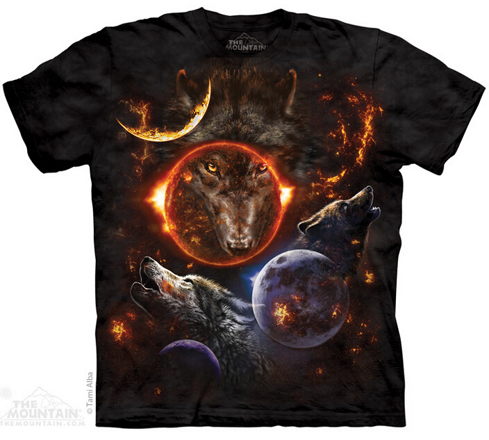 Men and Women 100% cotton 3D t shirt THE*MOUNTAIN Cosmic Wolves short sleeve 3D t-shirt(China (Mainland))