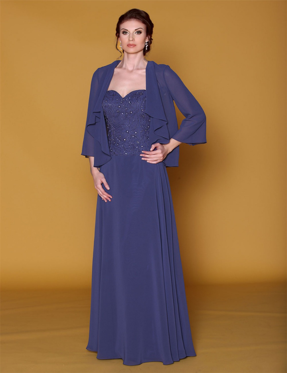 Navy blue plus size with jacket mother of the bride dress for Jacket to wear with dress to wedding