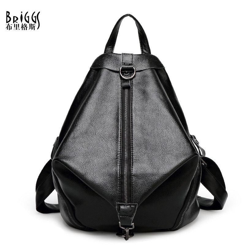 BRIGGS New 2016 Casual Women Backpack Female Cow Genuine Leather Women's Backpacks Bags Sport Travel Bag back pack Preppy Style(China (Mainland))