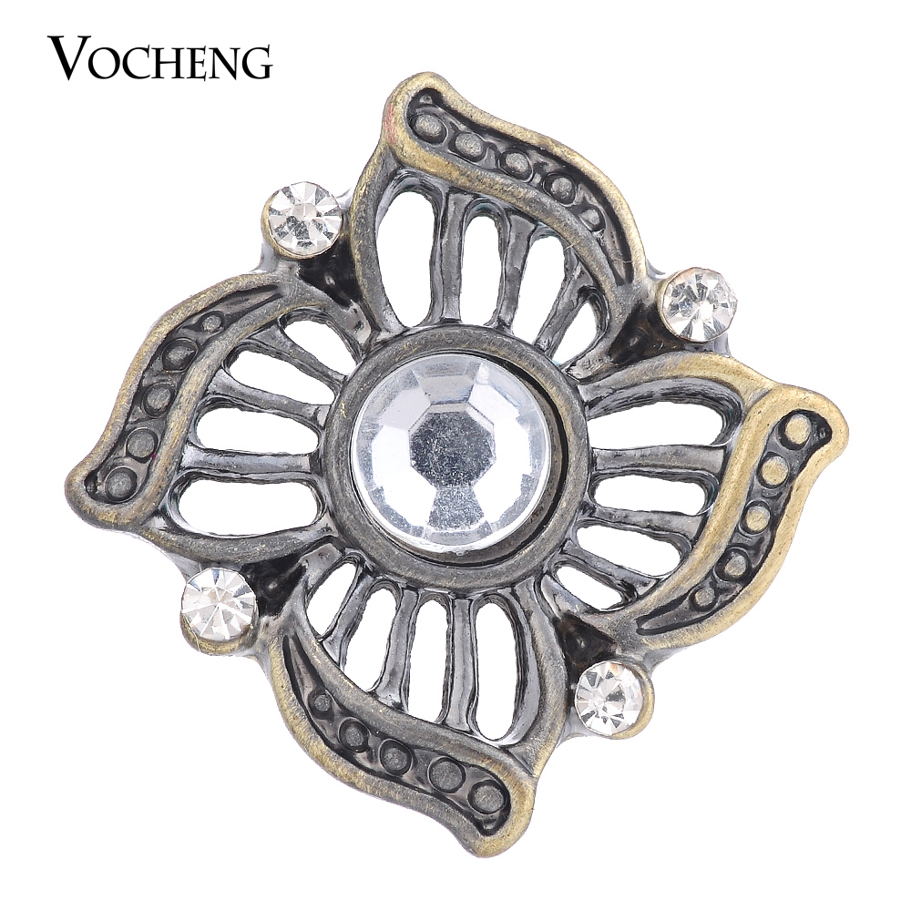 50PCS/Lot Wholesale Bronze Vocheng Ginger Snap Inlaid Rhinestone 18mm Vintage Interchangeable Jewelry Vn-1370*50 Free Shipping(China (Mainland))