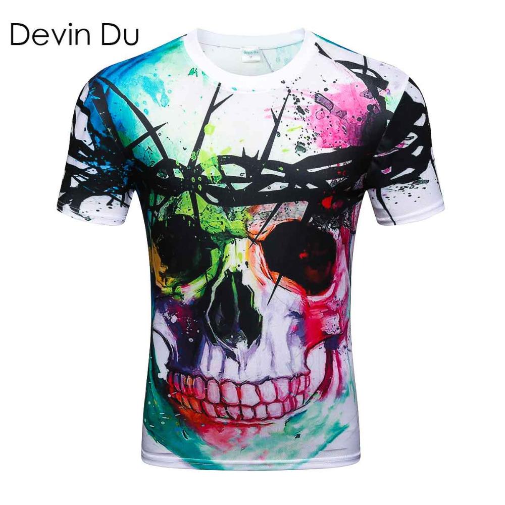 Devin Du new Fashion Brand T-shirt Hip Hop 3d Print Skulls Harajuku Animation 3d T shirt Summer Cool Tees Tops Brand Clothing(China (Mainland))
