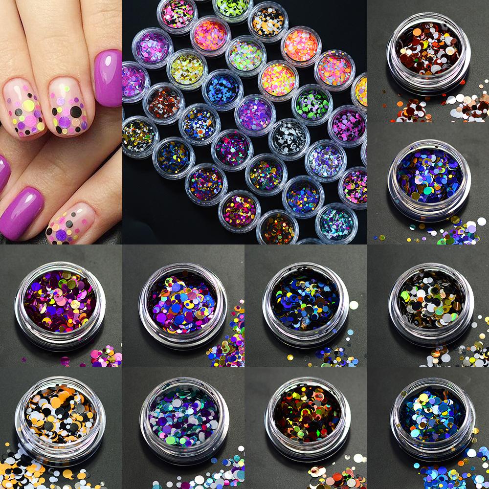 12 Box Hot Fashion Dot Shape Mixed Colors Round Thin DIY Designs Nail Art Tips Beauty Padillette Nail Accessory C12