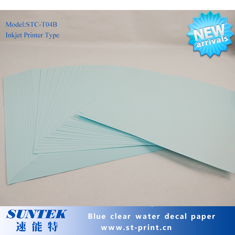 A4 Size 50 Sheets Blue Based Paper Clear Film Inkjet Water Slide Decal Papel Transfert Printing Paper for White Ink Printer(China (Mainland))