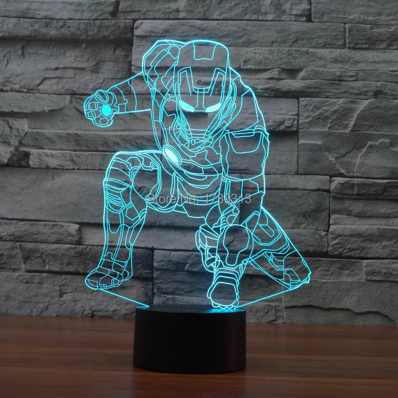 Smart 3D illusion Desk Table Lamp Super Iron Man Design LED Lighting as Children Bedroom Decoration(China (Mainland))