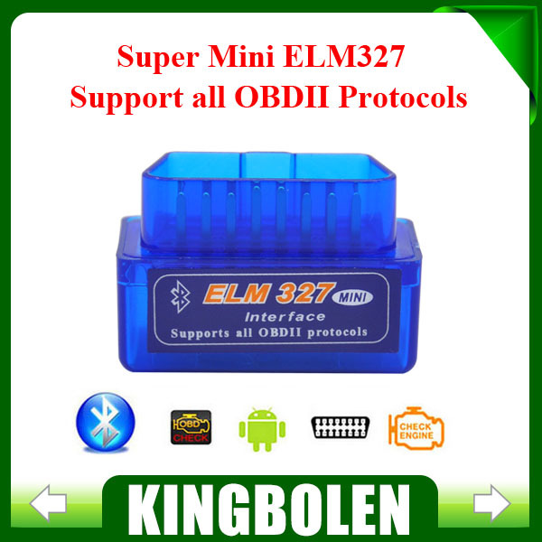 2015 Free Shipping Super Mini ELM327 Bluetooth Interface V2.1 OBD2 II Auto Diagnostic Tool ELM 327 Work ON Android Torque/PC(China (Mainland))