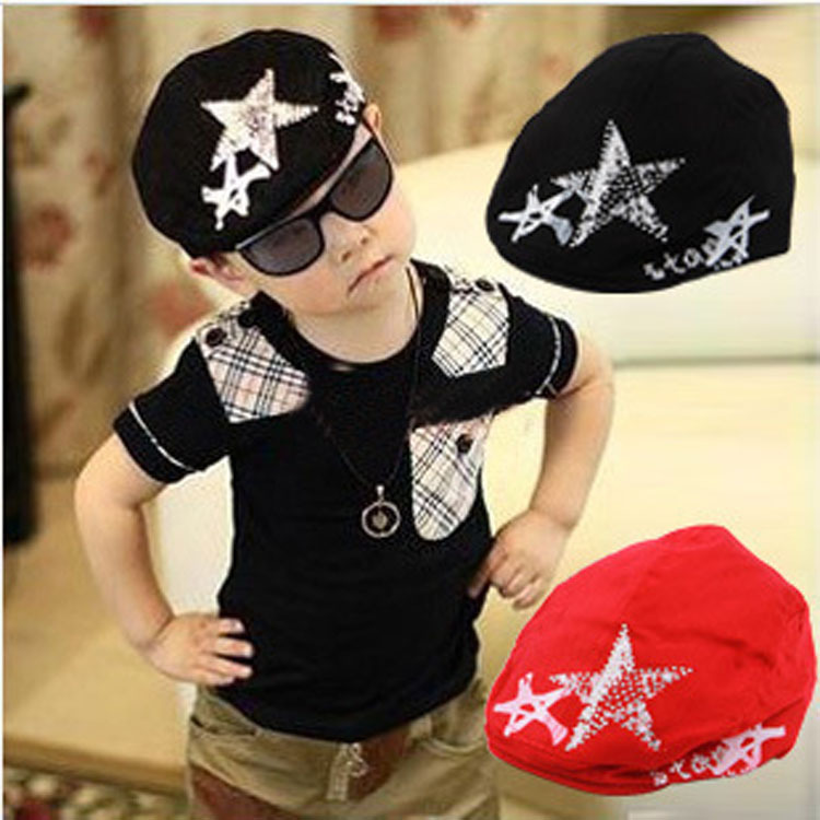 Children's fashion flash diamond five-pointed star beret baby baseball cap Boy Girl Girls Cotton Hat Sun Baseball Cute Cap
