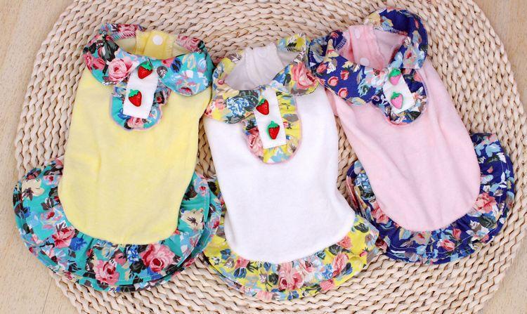 Clearance can send PETCO pet dog clothes velvet vintage floral dress wholesale pet supplies(China (Mainland))