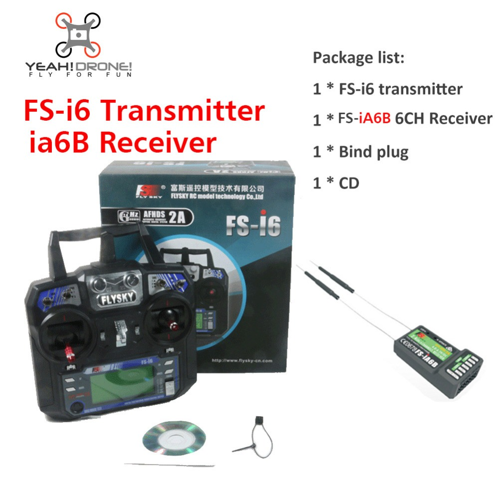 Flysky FS i6 Transimitter iA6b Receiver FS-i6 2A 2.4GHz 6CH RC Transmitter Controller for RC Quadcopter Helicopter Glider FPV(China (Mainland))