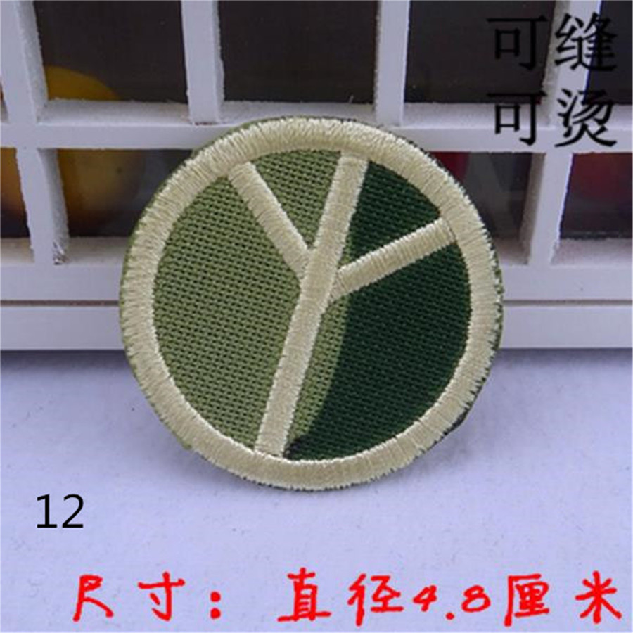 Free shipping men boy clothes military peace symbol logo embroidery patch fashion iron on patches for clothing fabric DIY(China (Mainland))