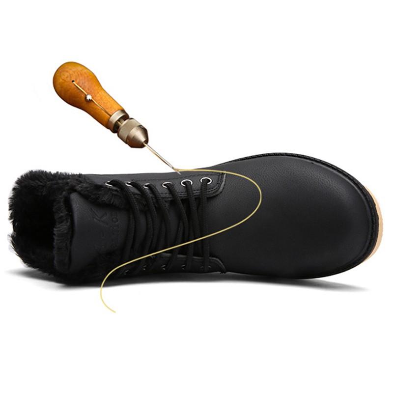 Hot 2016 Nueva Moda de Cuero de La Pu con cordones de Invierno Caliente de la Felpa de Nieve botas de Los Hombres Martin Botines Planos Ocasionales Zapatos Botas Hombre O1929