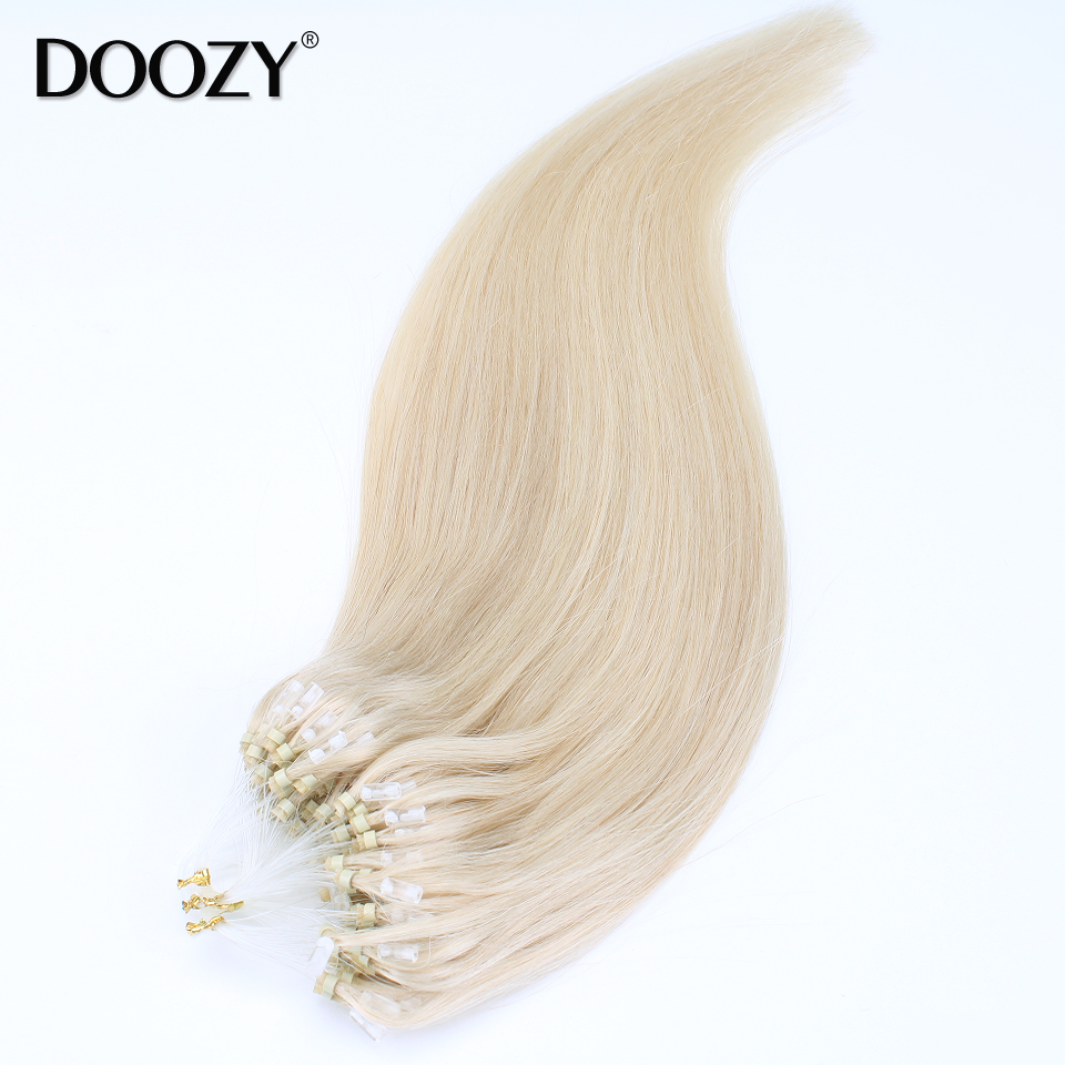 Doozy 7A loop hair extensions 100pcs pack silky straight brazilian remy human hair micro ring links hair extensions