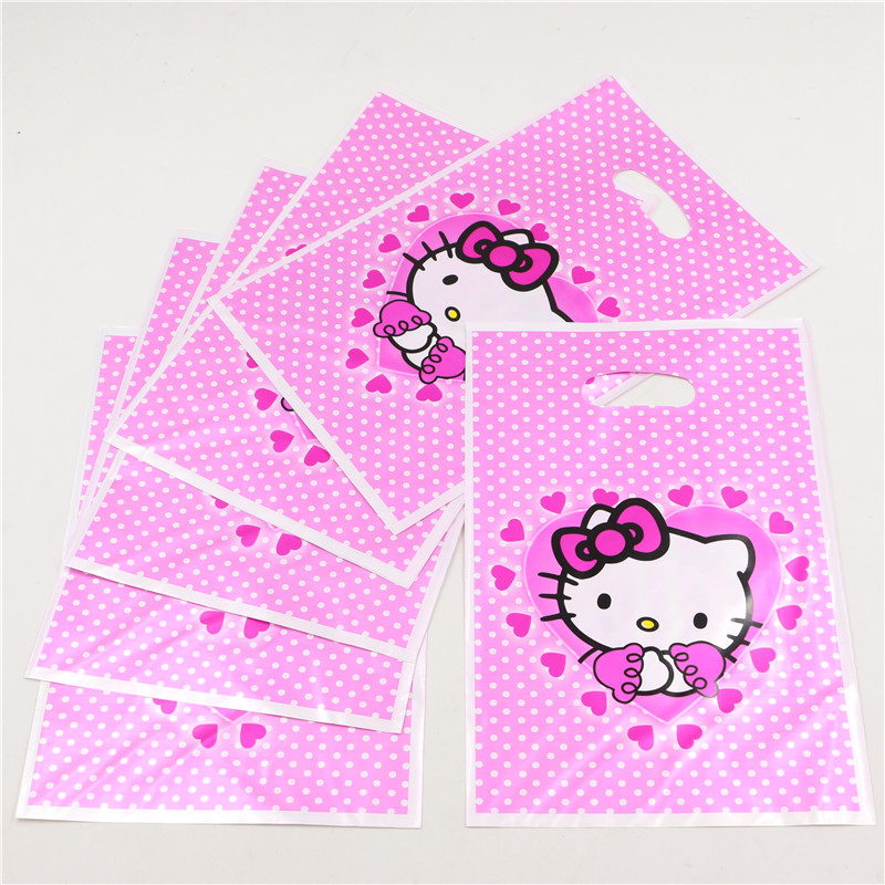 Wholesale 10pcs/lot hello kitty plastic shipping bag pink gift bags with handle 25cm*18cm Carrier bags bags P215(China (Mainland))