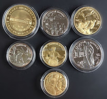 Free shipping Set of 50 Years of Victory 7 Russia gold/silver old coins -7pcs/set/$12(China (Mainland))