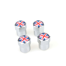 Free Shipping Theftproof Stainless Steel 4PCS Car Wheel Tire Valves Tyre Stem Air Caps Airtight Cover With British Flag(China (Mainland))