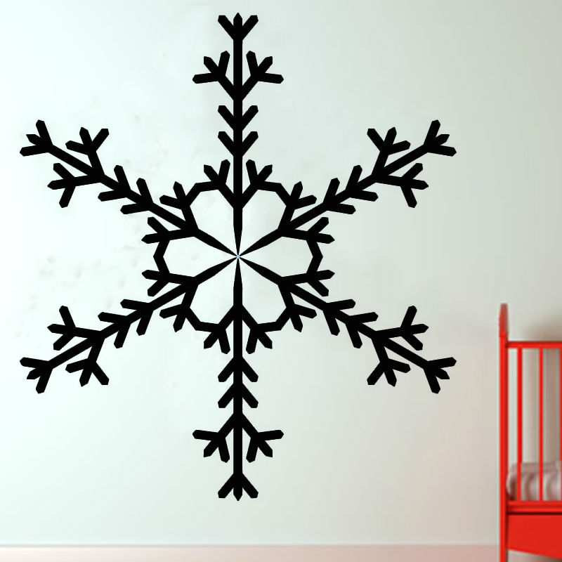 Single Piece Kaleidoscope Pattern Snowflake Wall Decals Kids Bedroom Headboard Decorative Sticker PVC Design(China (Mainland))