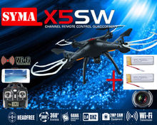Free Shipping! With 2.0MP Wifi Camera + 2 Batteries Black Syma X5SW FPV 2.4G 50M RC Drone Quadcopter