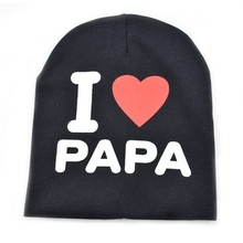 2016 fashion Autumn baby cap knitted warm cotton toddler beanie Cute kids girl boy I LOVE PAPA MAMA print kid hats 1-3 years old(China (Mainland))