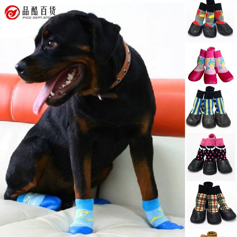 2016 hot sale 4psc/lot Fashion DOG pet waterproof socks shoes dog boots shoes outdoor pet antiskid wool socks winter warm(China (Mainland))