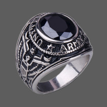 ILOVE JEWELRY RO003 Fshion Stainless Steel ARMY  Rings For Men With Agate  Four Color 7-12 Size(China (Mainland))
