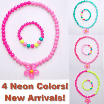 2013 New 4 Neon Colors Kids Necklace Bracelet Jewelry Set Floral Flower Pendant Necklace Childrens Jewellery 24sets FKJ0105