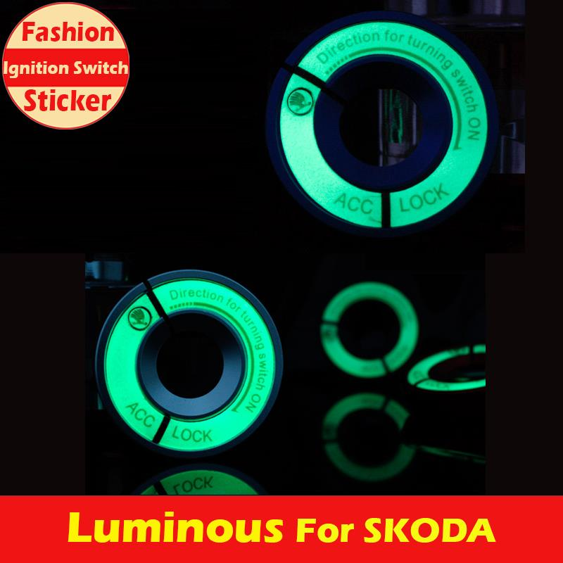 A010 NEW Luminous Car Sticker for SKODA, Ignition Switch Cover,Automobile Interior Accessories,Fashion & Useful Car Covers(China (Mainland))