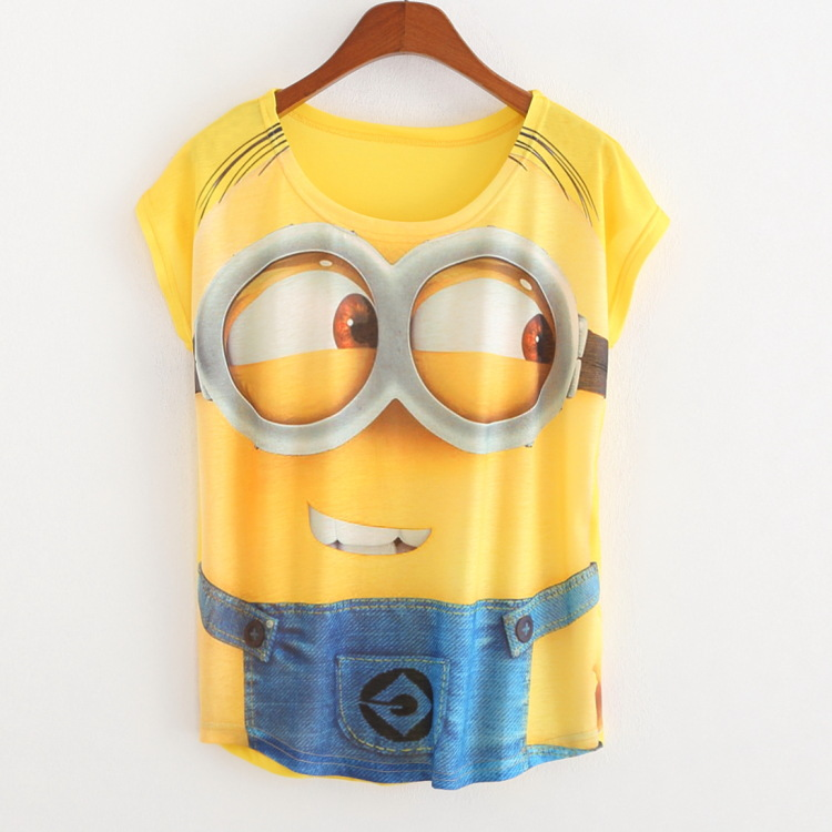 2016 New arrival anime Minions costumes Spring summer women short T shirt Tops Summer Clothing Tees