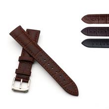 Ventas al por mayor de la alta calidad de becerro cuero genuino reloj correas con 316 cepillo de acero inoxidable hebilla 12 14 16 18 20 22 24 mm