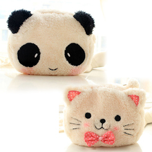 Cute Cartoon Cat Shape Soft Plush Cosmetic Makeup Bag Pouch with Pen Pencil Case Black Pink Clearance sale Free Shipping