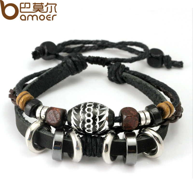 Wrap Black Leather Rope Bracelet for Men Colorful Wooden Beads and Metal Charms Fashion Jewelry PI0274(China (Mainland))