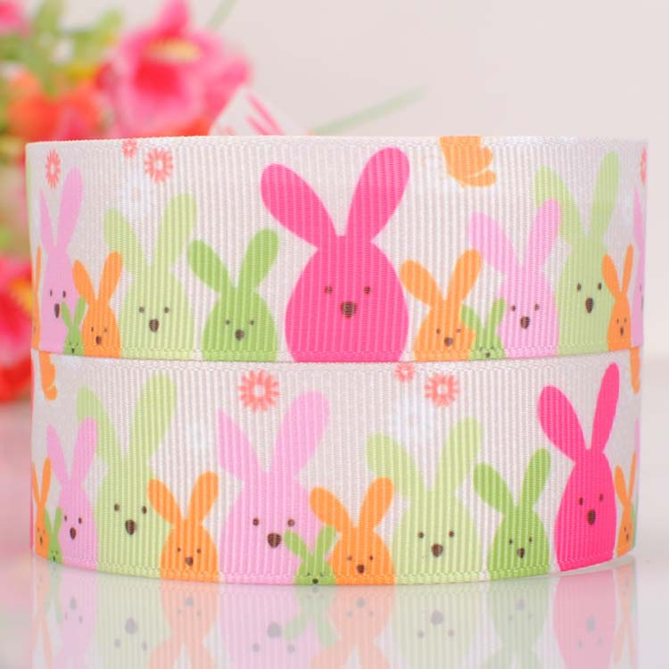 """7/8"""" Bunnies printed Grosgrain ribbon Easter For Bows/Cakes/Crafts(China (Mainland))"""