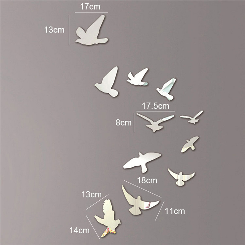 Silver Acrylic Birds Design Mirror Effect Mural Wall Sticker Decal Artistic Modern Decoration Craft Free Shipping(China (Mainland))