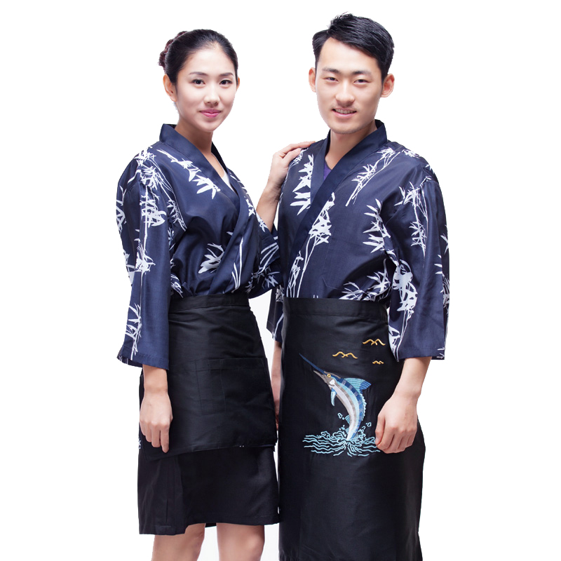 Japanese chef uniform cook suit NEW Japan chef uniform Bamboo pattern Japanese sushi women and man wear chef Servic(China (Mainland))