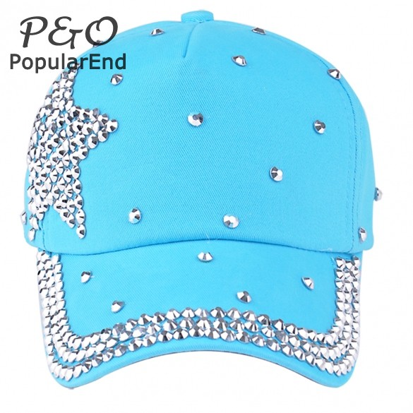 New fashion most popular brand quality rhinestone star shaped black color Kids Women snapback hats baseball caps B2# 41(China (Mainland))