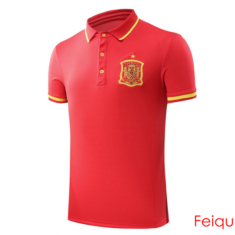 European Cup Spain Football Soccer POLO Shirt Trainning Exercise Men's Solid Homme Short Sleeve Sport Leisure Polo(China (Mainland))