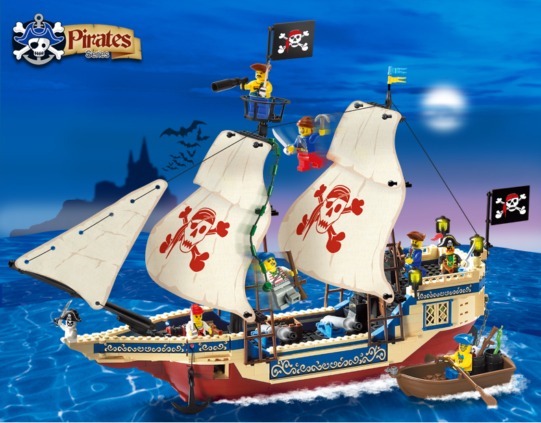 building block set compatible lego pirates Number seas 3D Construction Brick Educational Hobbies Toys Kids