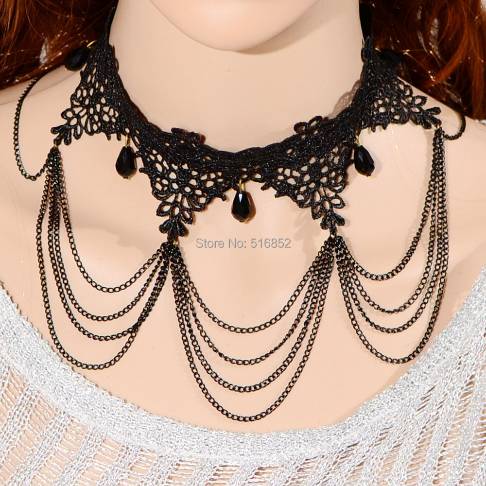 Free Shipping Wholesale Adjustable Fashion Black Lace & Crystal Drop Chains Black Lace Pendant Neck Acessories(China (Mainland))