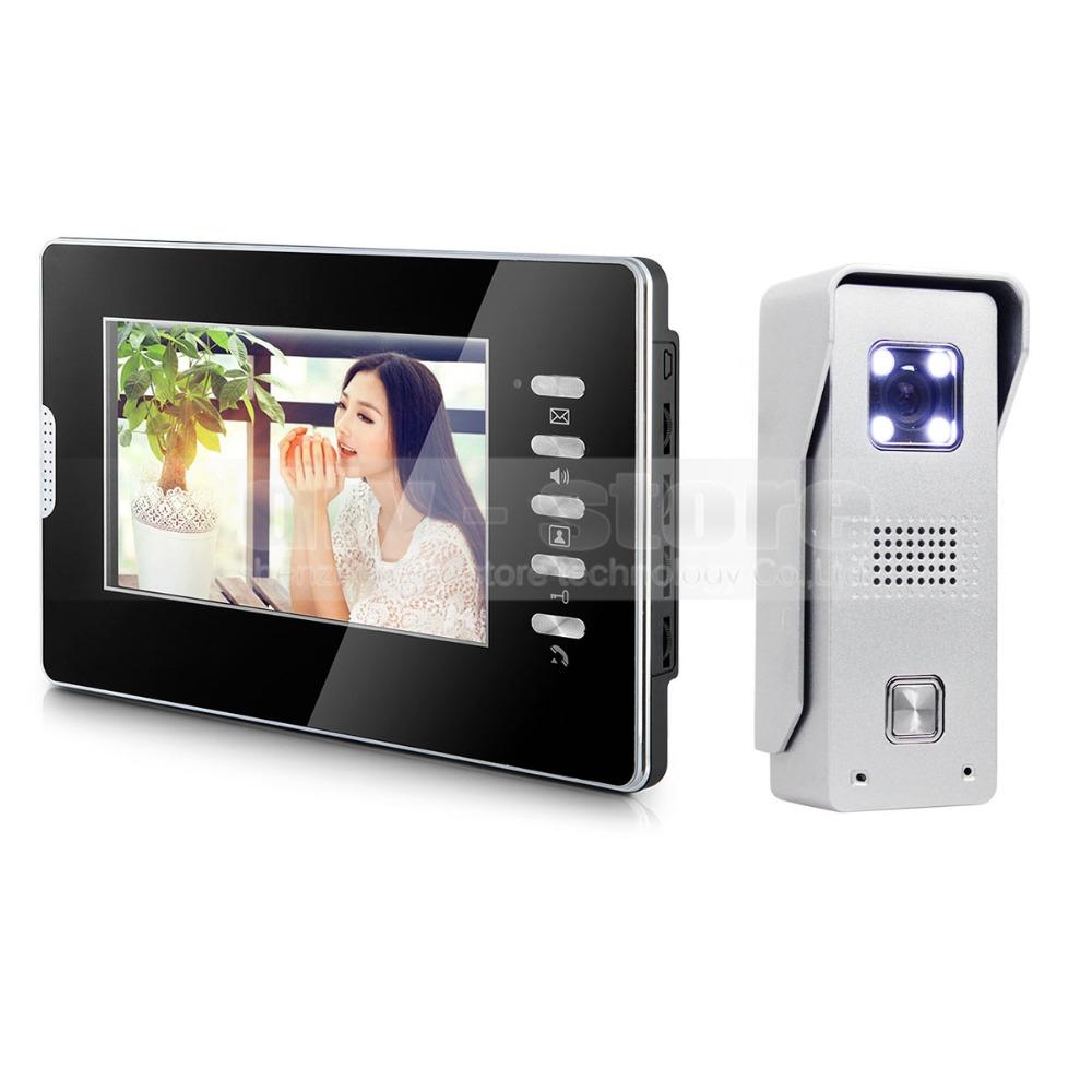 "Video Door Phone Intercom System 7"" Color LCD Monitor 700TVL CMOS Camera 1 v 1(China (Mainland))"