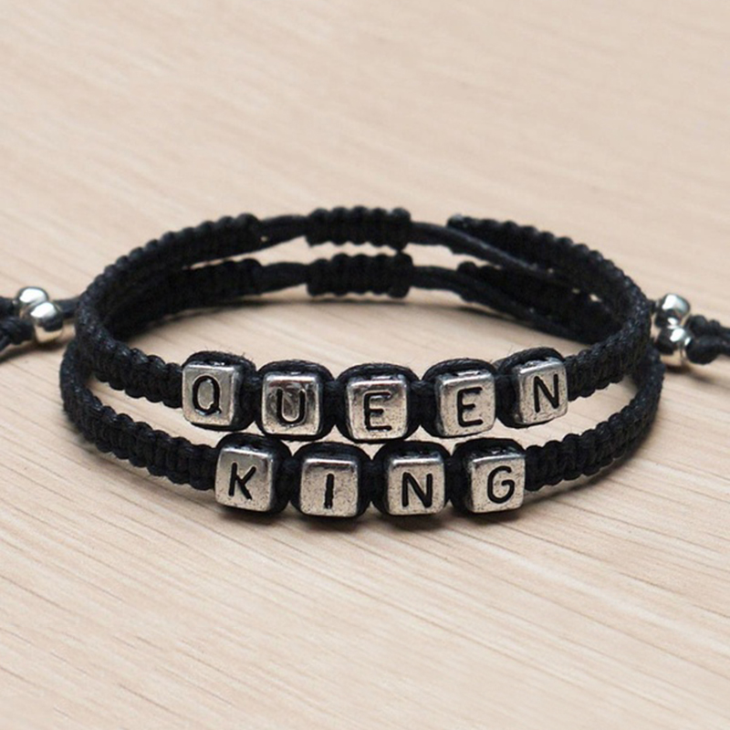 Free Shipping Couples Bracelets set King and Queen Bracelet Handmade Lovers Bracelets(China (Mainland))