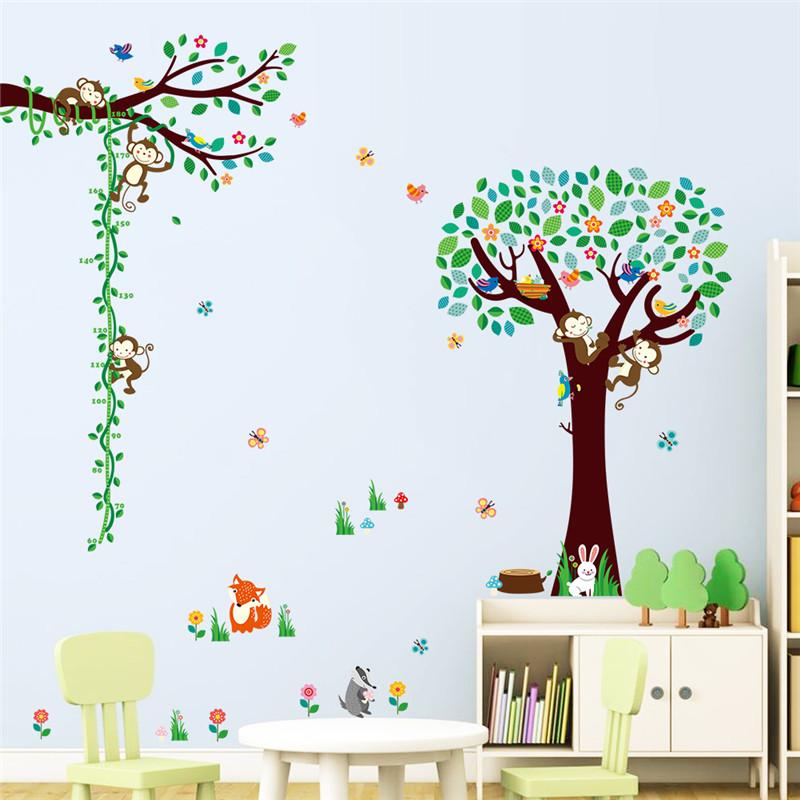 Dieren zoo Cartoon boom Aap DIY home decor sticker kinderen hoogte ...