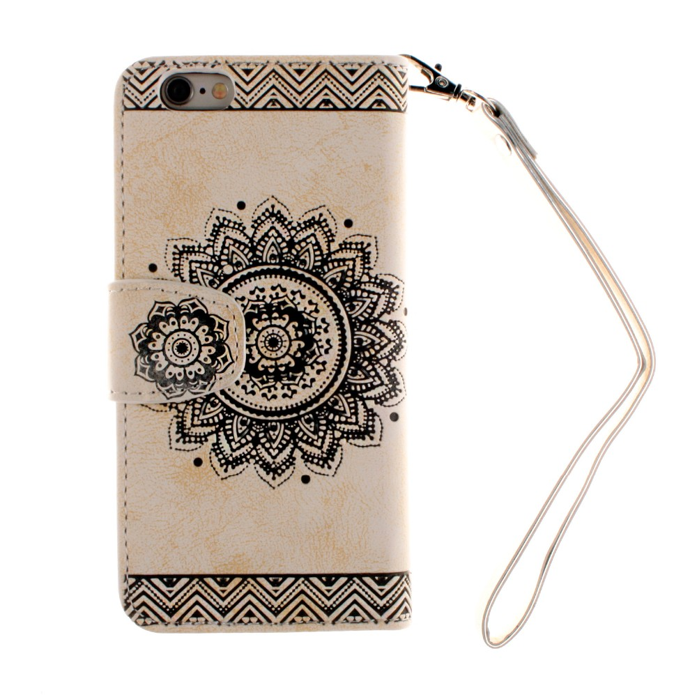 Fashion Luxury 3D Rilievo Datura Floral Wallet Flip Fundas Brand Case For Apple Iphone 5 5s 5SE 6 6s 6plus 6s Plus Back Cover