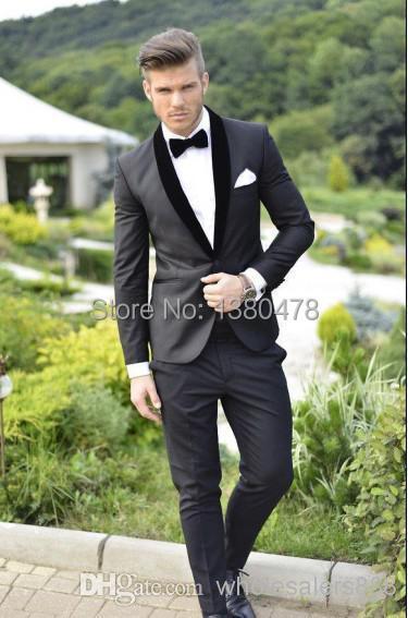 2014 - Custom Made Groom Tuxedos Charcoal Grey Best man Shawl Black Collar Groomsman Men Wedding Suits Bridegroom (Jacket+Pants+