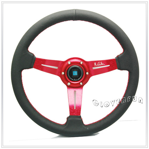 "BK Na-r-di 14"" 350MM Real Leather Racing Steering Wheel w Red Alloy Spoke(China (Mainland))"