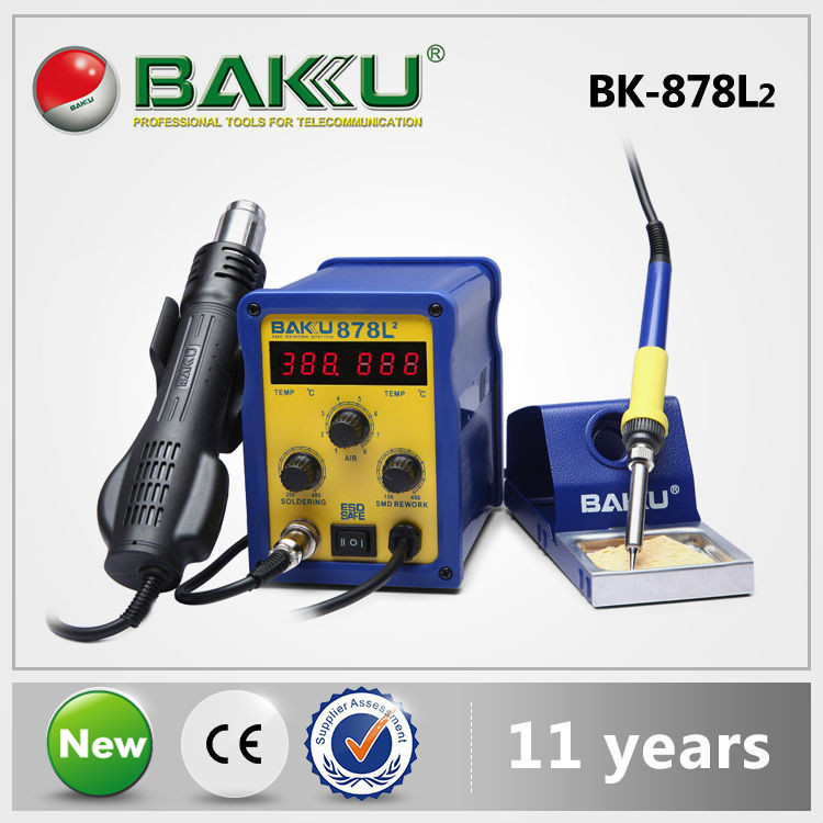 2 in 1 Rework Station, Soldering Iron + Hot Air Gun,Double Digital Display,with Thermoregulator, 700W High Quality BAKU Products(China (Mainland))