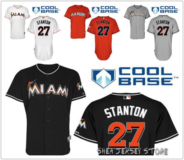 Free Shipping Newest Mens #27 Giancarlo Stanton White Grey Black Red Florida Marlins Baseball Jerseys<br><br>Aliexpress