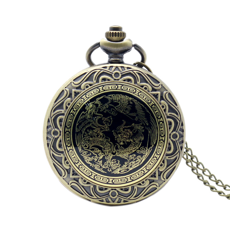 Retro Chinese Style Dragon Phoenix Pocket Watch With Necklace Chain Bronze Fob Clock Best Gift for Men Women(China (Mainland))