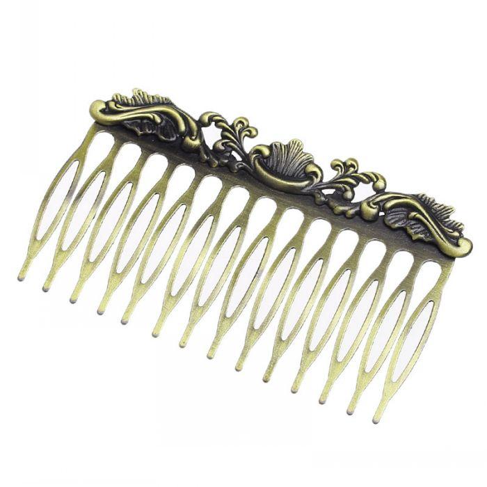 Retail Hair Clips Comb Shape Antique Bronze Flower Pattern Carved 7.6x4.5cm,5PCs(China (Mainland))