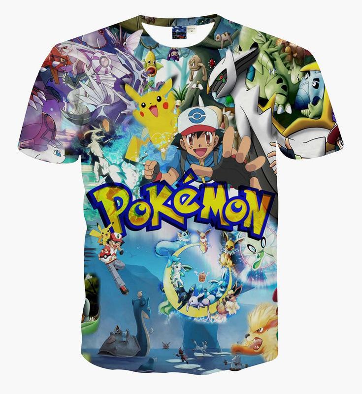 Hot font b Pokemon b font Go Series shiny 3D Print font b T shirt b